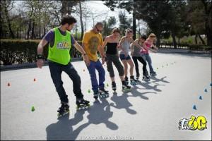 patinaje clases de slalom