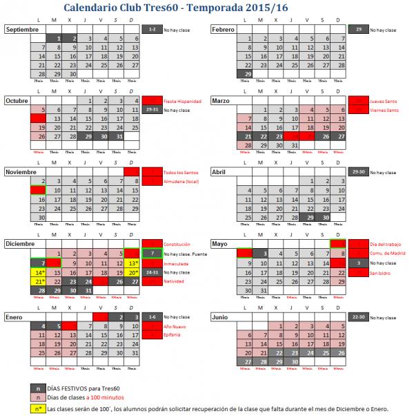 Calendario MADRID 2016