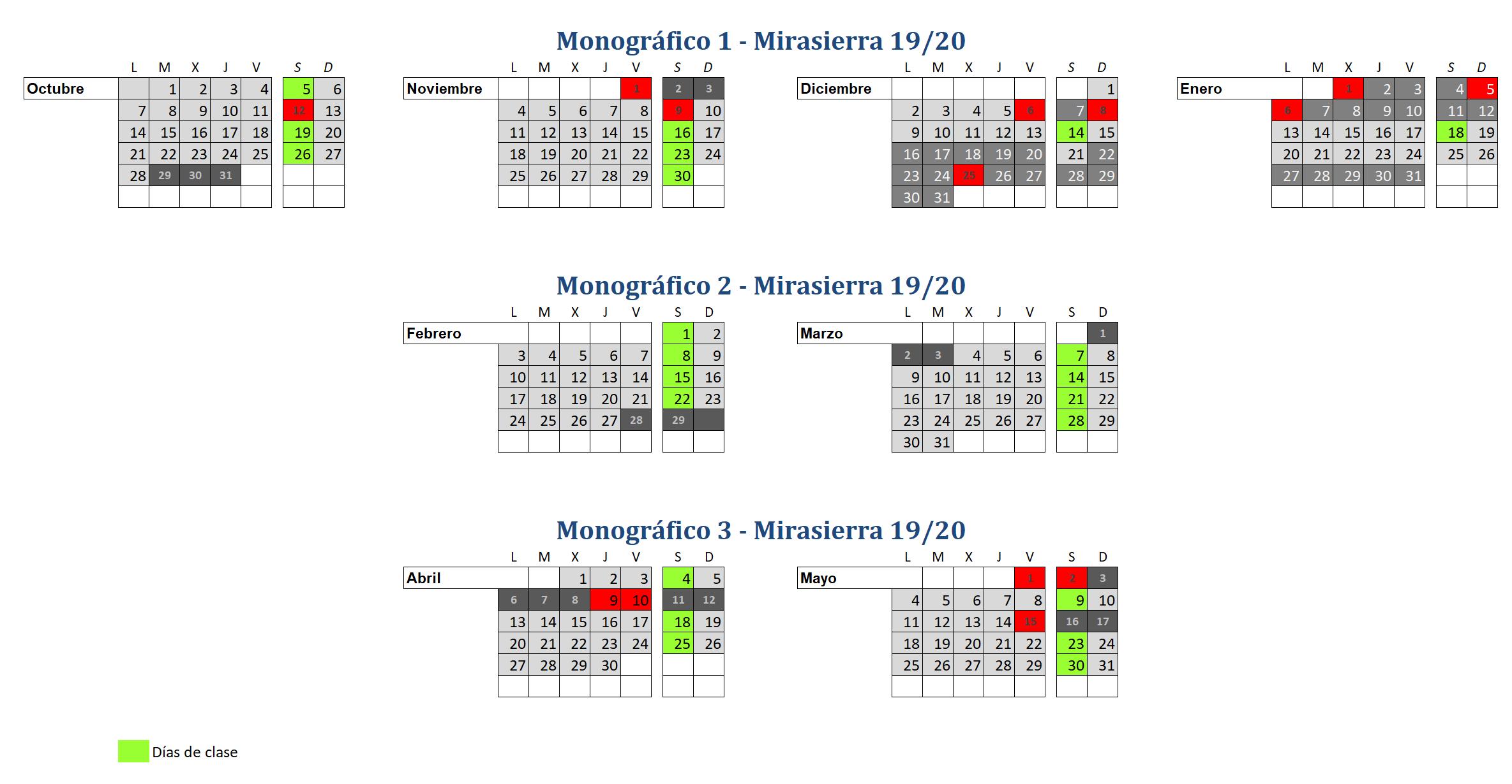 Calendario 2019-2020 Club Tres60 Curso de patinaje Mirasierra 2