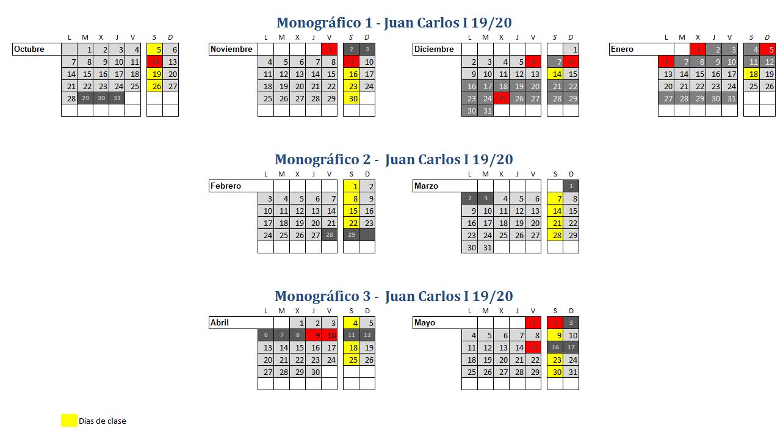Calendario 2019-2020 Club Tres60 Curso de patinaje Juan Carlos I 2
