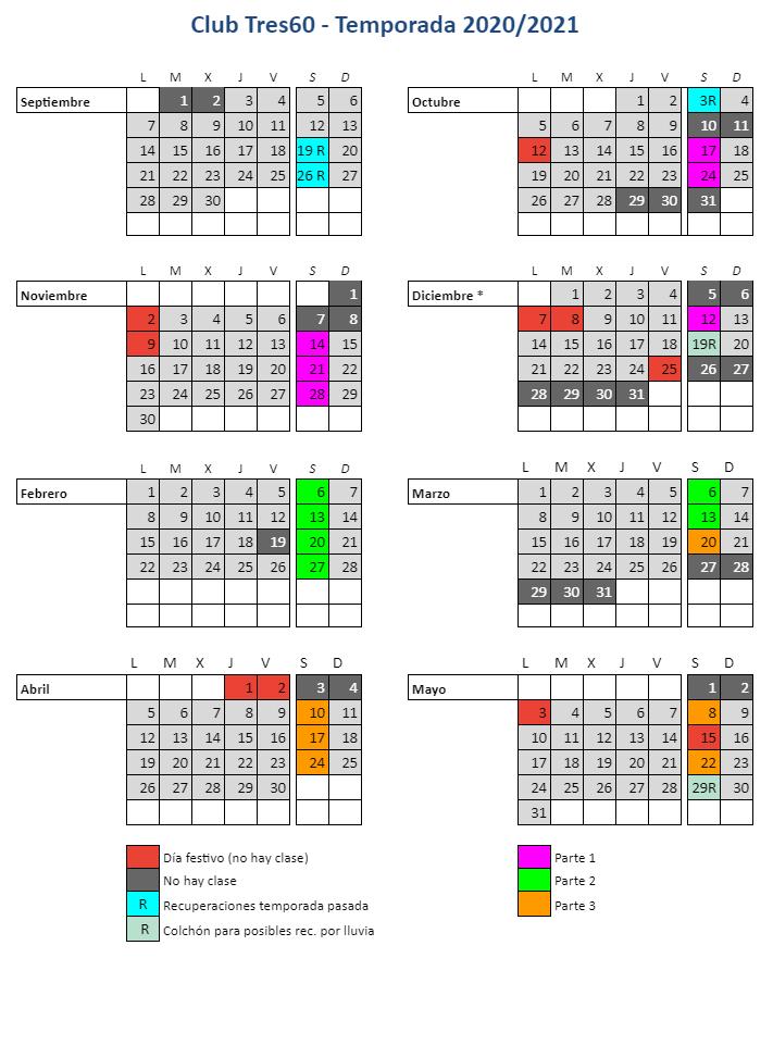 calendario nuevos ministerios 2020-2021